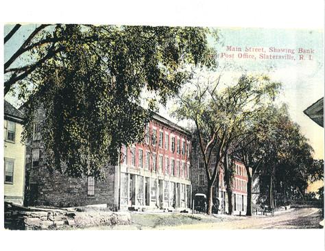 Main St showing Post Office - Slatersville