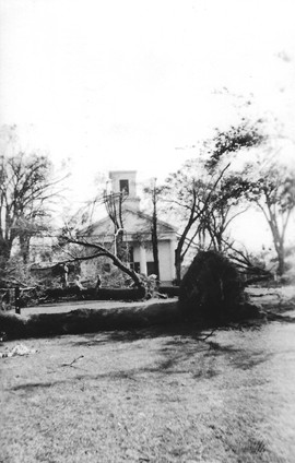 Slatersville Congregational Church after 1938 hurricane