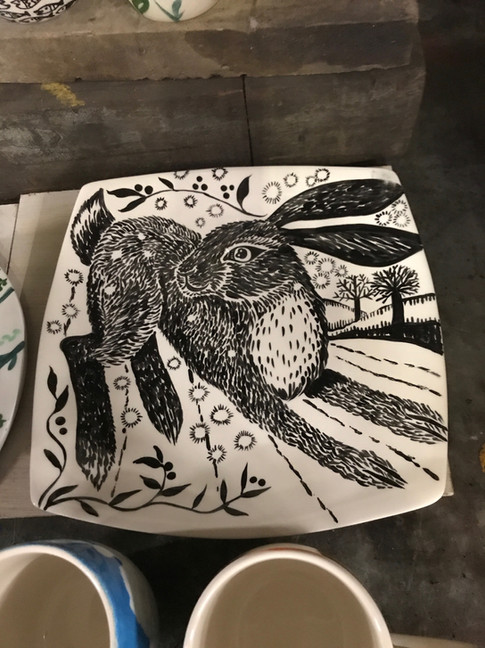 Hare painting on Ceramic plate at Pot en
