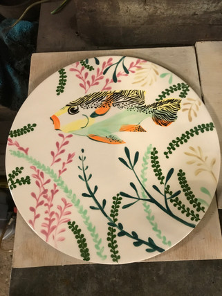 Fish on Ceramic plate at Pot en Ciel