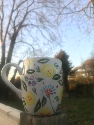 Flowers on ceramic mug - painting at Pot