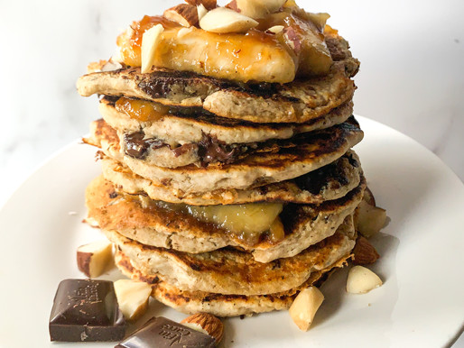 Chocolate chip oat pancakes with caramelised banana