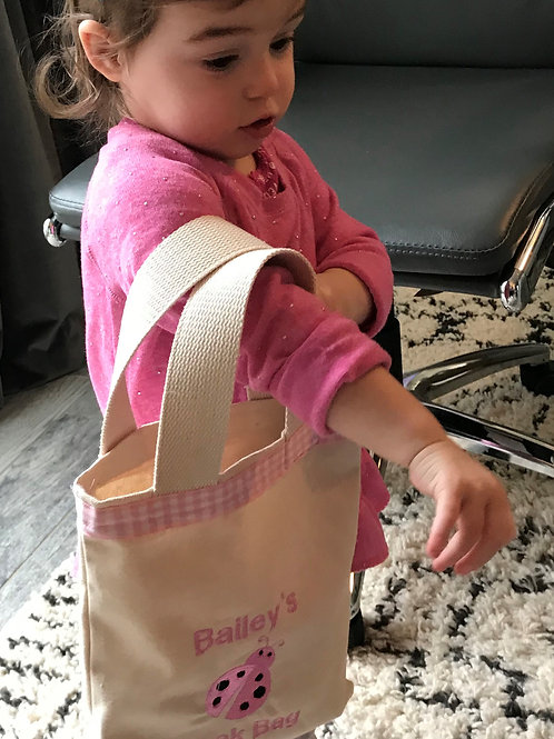 Bailey's Plain unlined Tote with personalization and ribbon top