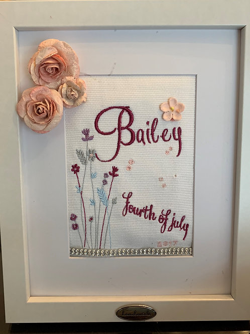 Embroidery Birth Announcement