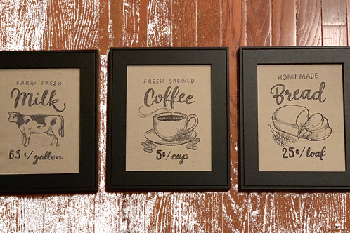 Embroidered Vintage Farm Stand Signs on Grain Cloth with black frame