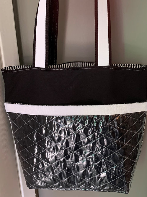 Classic Black and White Quilted Tote