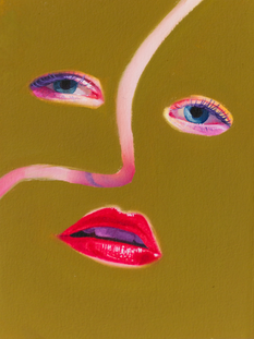 """'nosey, but they don't know-sy'  6""""x8"""" oil on paper mounted to wood panel"""