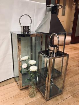 75cm, 50cm & 35cm Silver lanterns