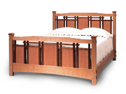 Edo Bed in Cherry with Walnut Accent