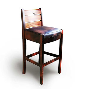 Bistro Chair in Solid Wenge and Mahogany with Genuine Leather Upholstered Seat
