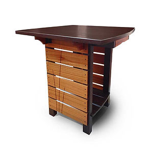 Solid Wenge and Mahogany Wood Bistro Table, Tall Table, Small Table, Two Drawers, Wing Top, Flip Top