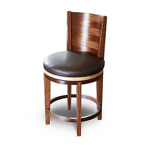 Swiveling Apothecary Barstool, Tall Chair, Made from Solid Mahogany with Birdseye Maple Details and Genuine Leather Upholstered Seat