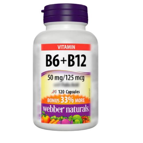 Webber Naturals - 維他命B6+B12(50mg/125mcg) 120粒(平行進口貨)