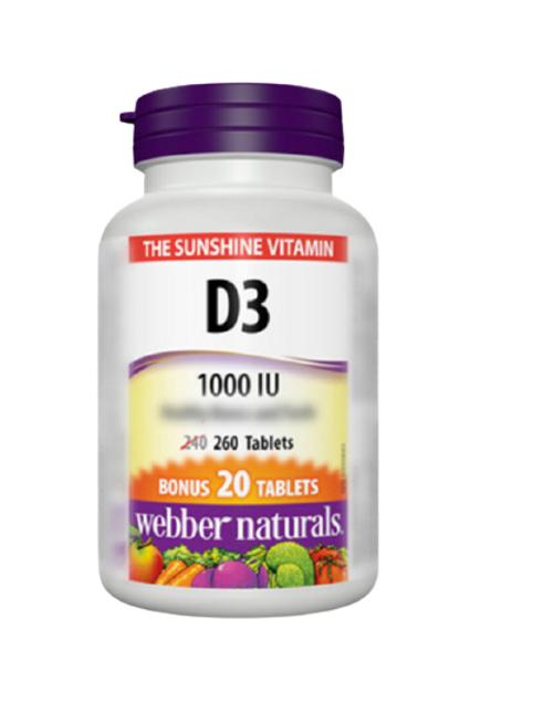 Webber Naturals - 維他命D3 1000IU 260粒(平行進口貨)