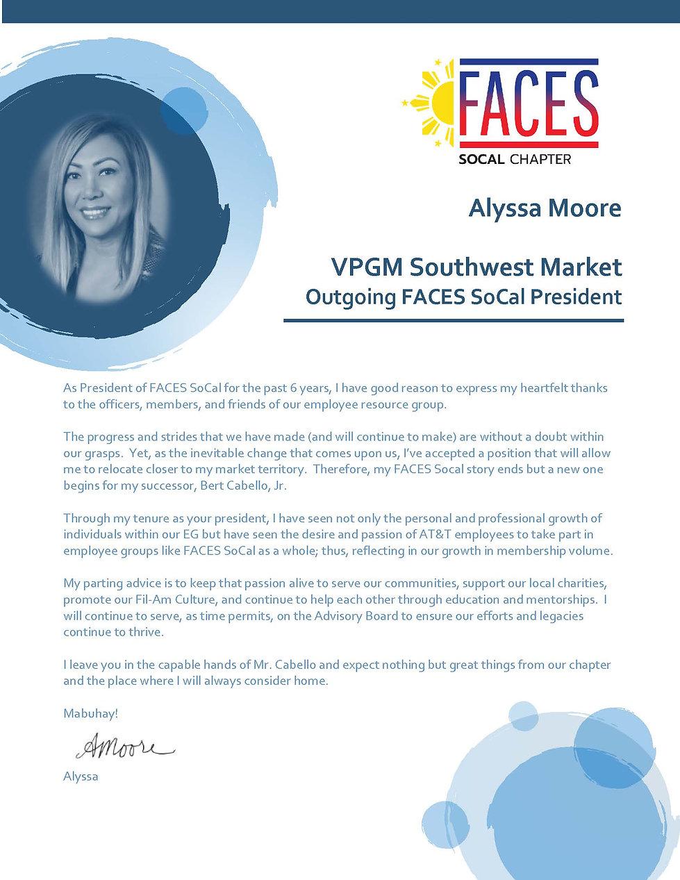Alyssa Moore - Outgoing FACES SoCal Pres