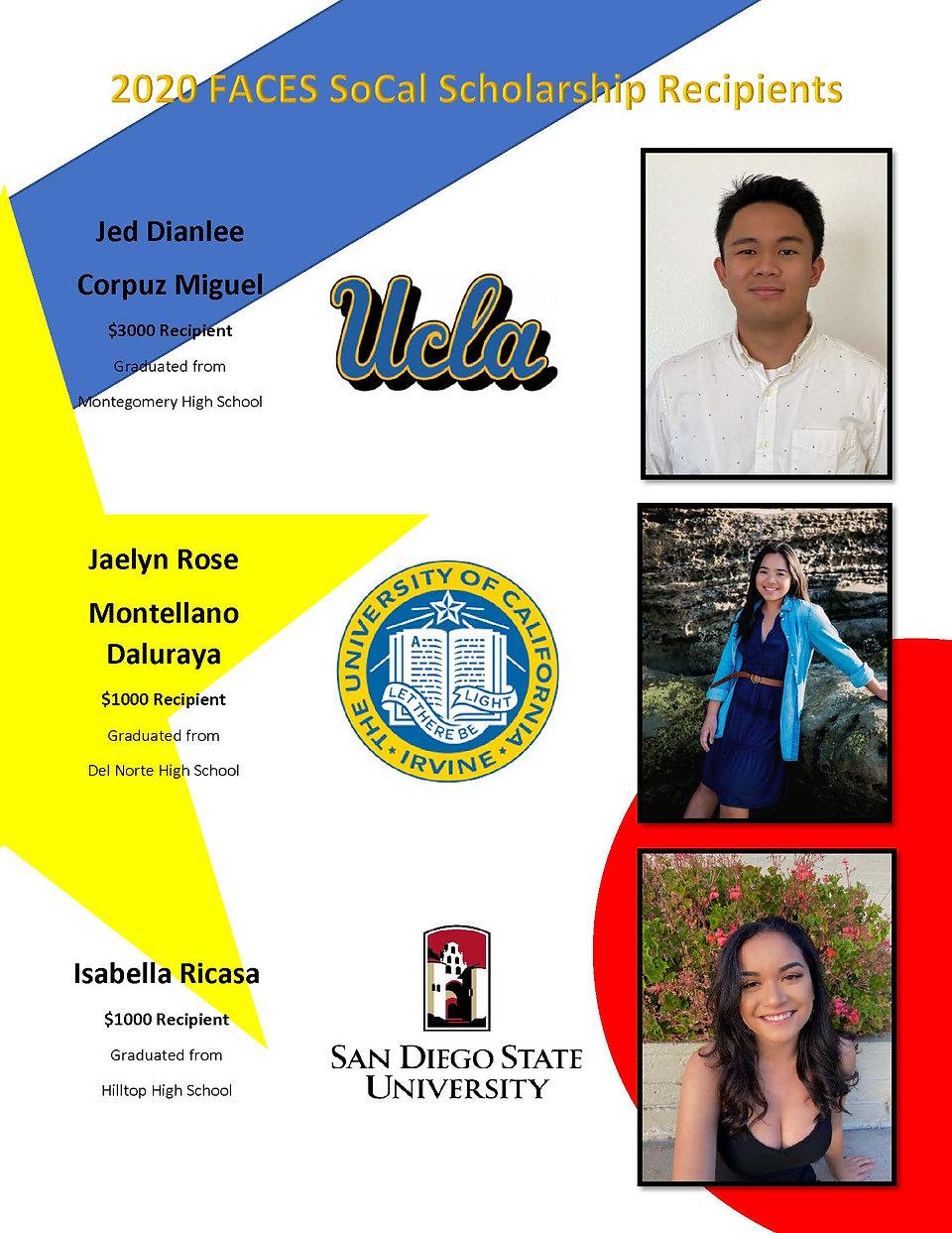 FACES SoCal 2020 Scholarship Recipients_