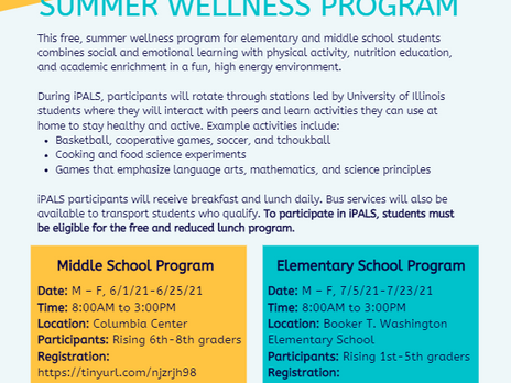Summer Wellness Program and Online Registration for 2021-2022 School Year