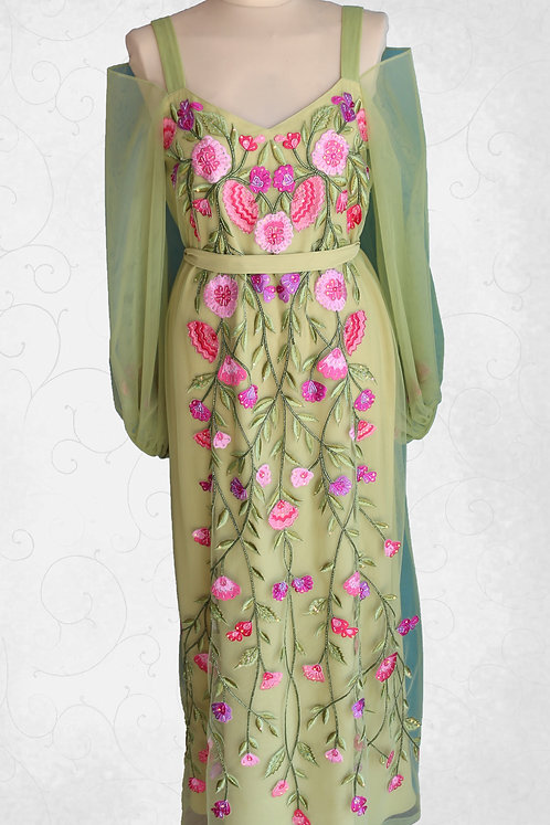 Dress with Flower Embroidery