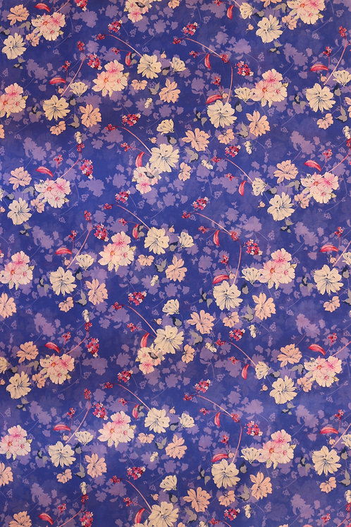 French Cotton Blue with White Flower Pattern