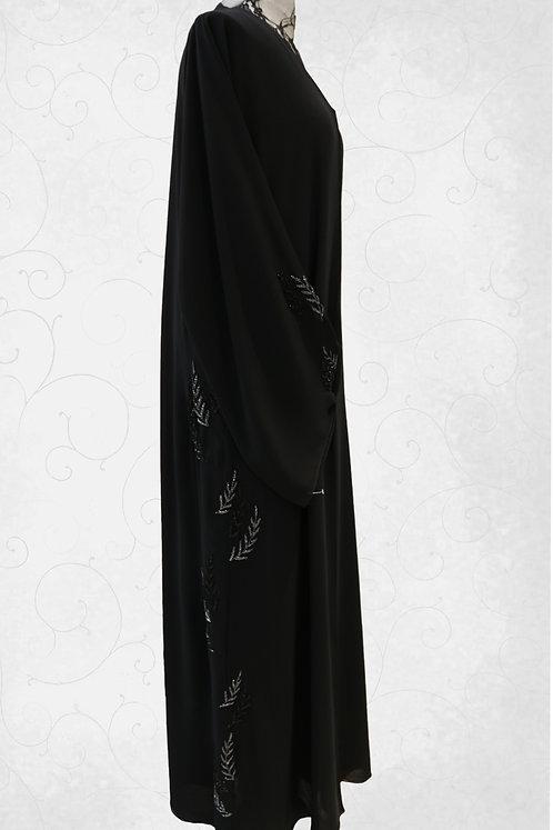 Abaya With Olive Leaf Handwork
