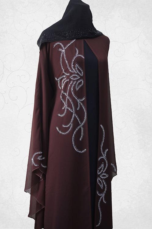 Abaya with White Stone