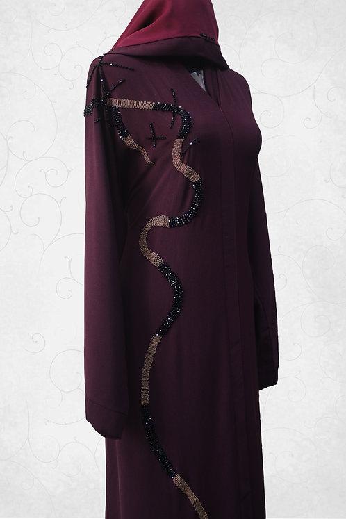 Maroon Abaya with Hand Work