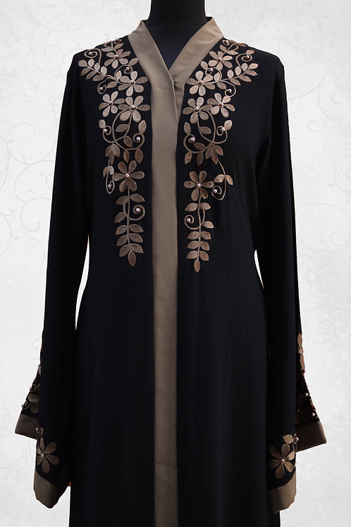 Abaya with_Matching Pulse Embroidery