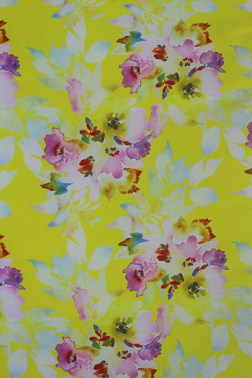 Cotton Spanish 5D Yellow with Flower Pattern