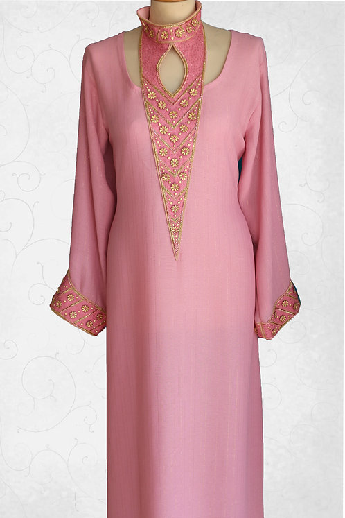 Dress with Neck & Sleeve Embroidery Work