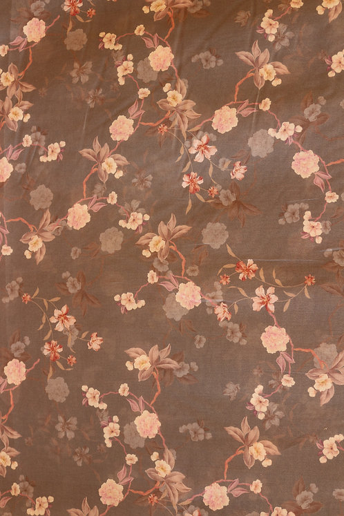 French Cotton Grey with Rose Flower Pattern