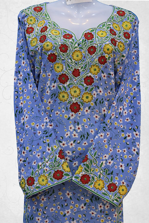 Jalabiya with Flower Embroidery Work