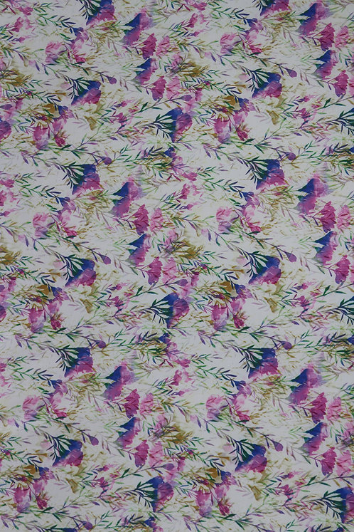 Cotton Spanish 5D White Mixed Color Flower Pattern