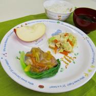 揚げサバの野菜甘酢あん 厚揚げとキャベツの味噌炒め すまし汁 ごはん  #えいよ
