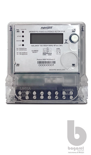 MEDIDOR DE ENERGIA KWH TRIFASICO VECTOR 3PA 3EL 120, 240V 15(120)A