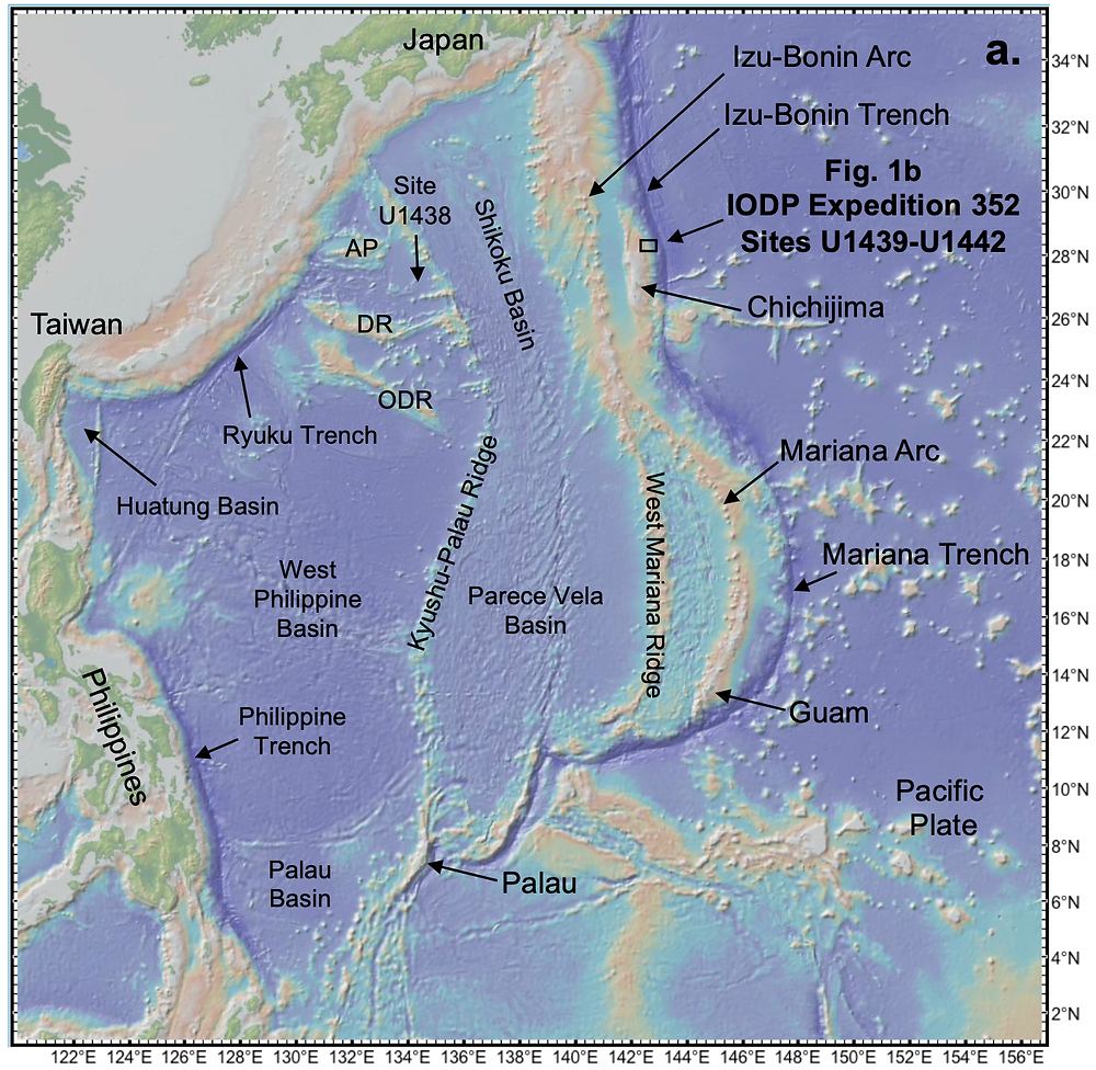 Bathymetry of the West Pacific subduction realm