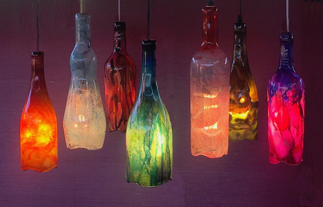 Pendant bottle lamps