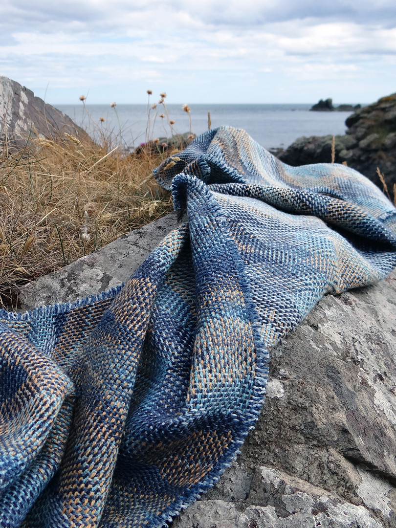 Trade Winds Blanket Scarf in Saphire and Lead