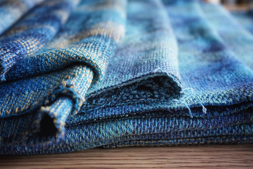 Handwoven fabric from the Rockpool//Shoreline collection. Scottish textiles inspired by the sea.