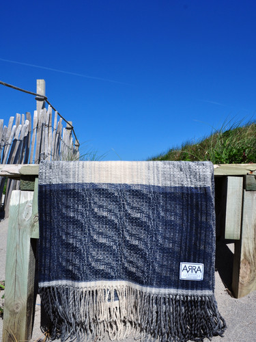 Ripple Throw in Denim and Whisper