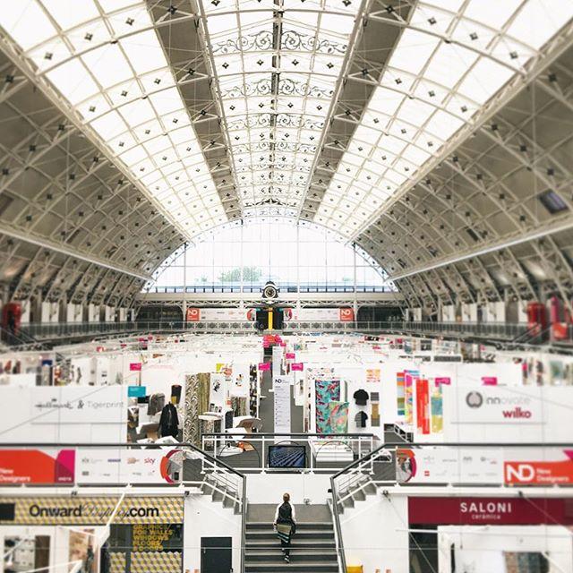 The huge New Designers main hall where the majority of university exhibitors were