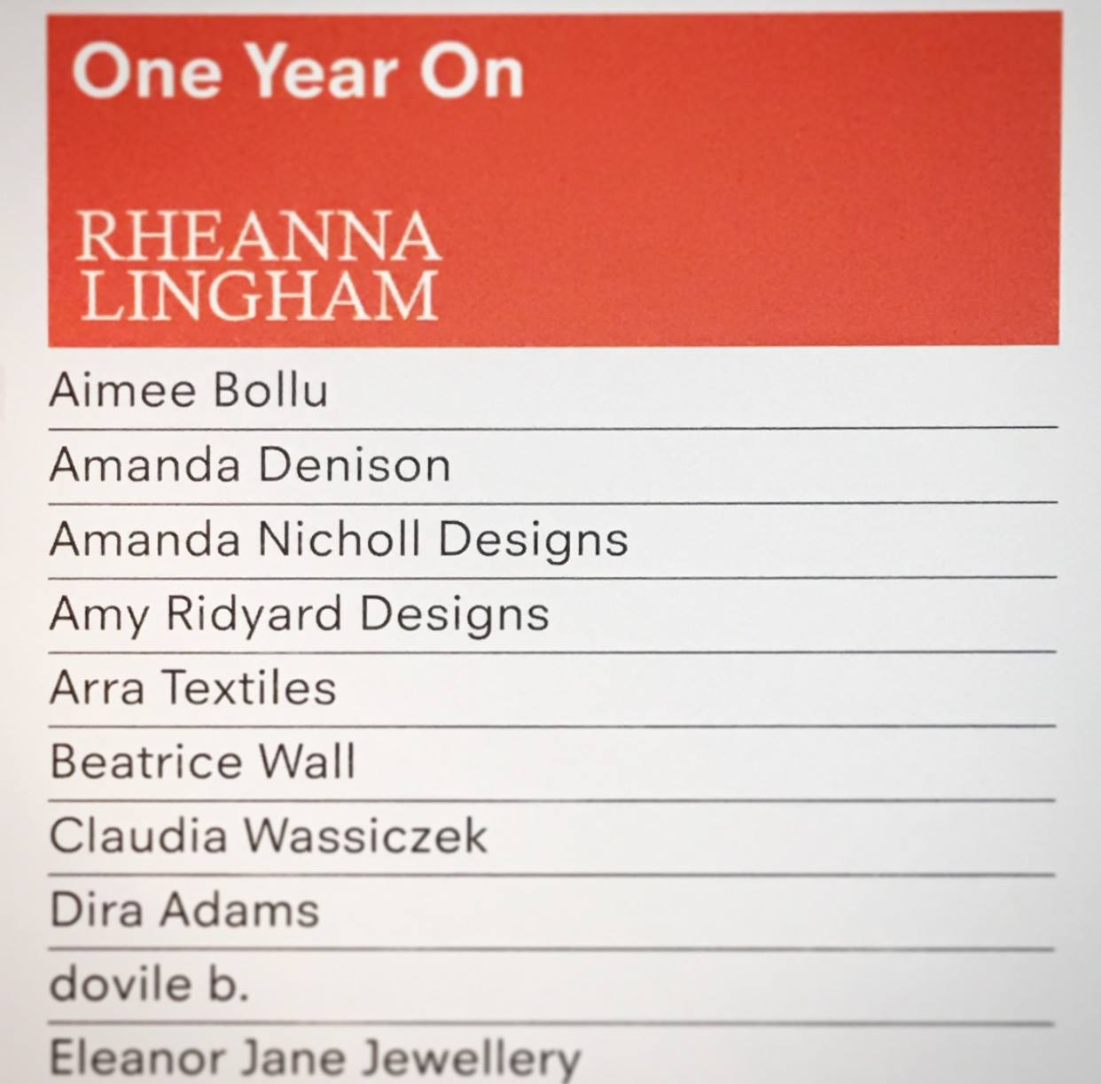 So many talented designers at One Year On 2016
