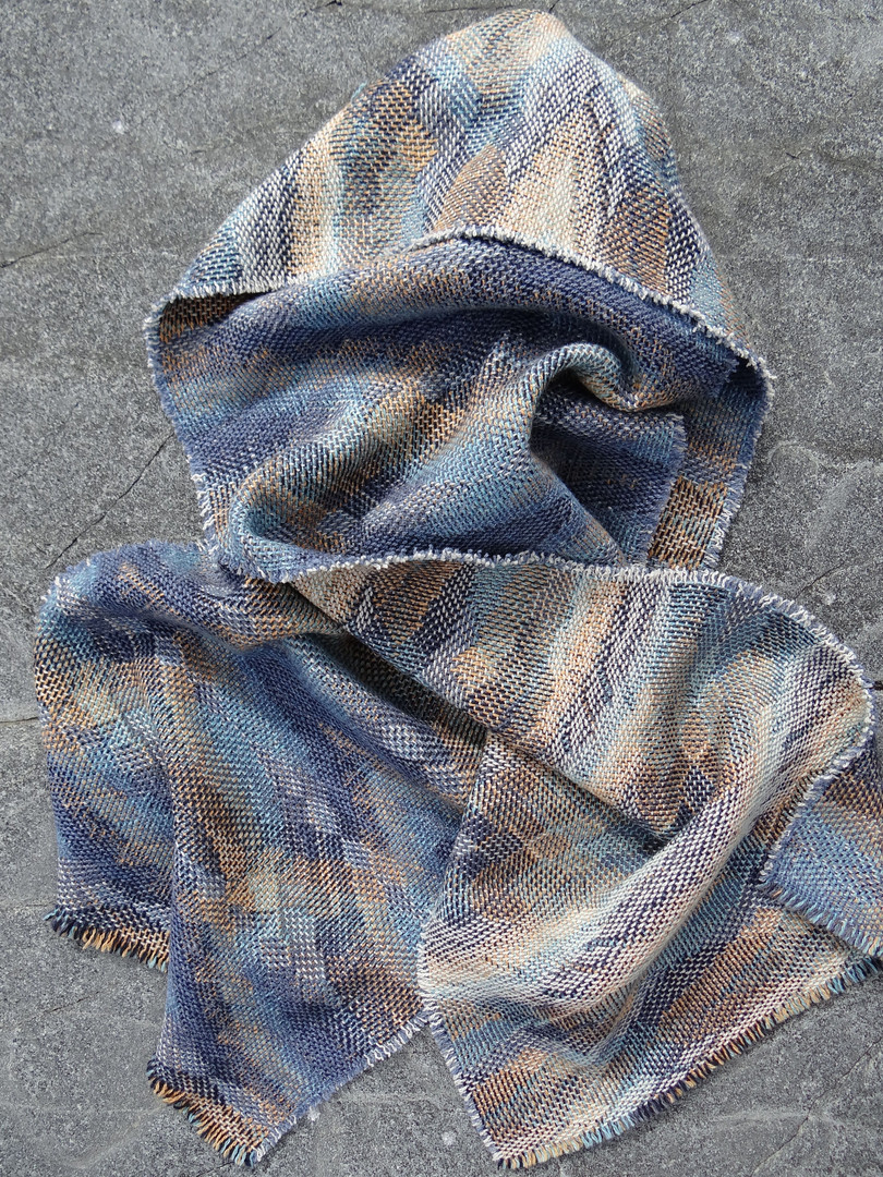 Trade Winds Blanket Scarf in Dove and Saphire