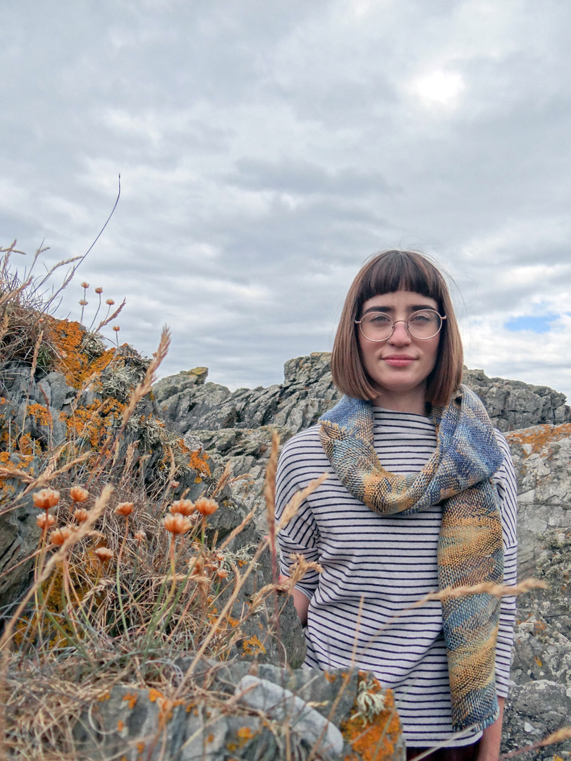 Trade Winds Blanket Scarf in Saphire and Aconite