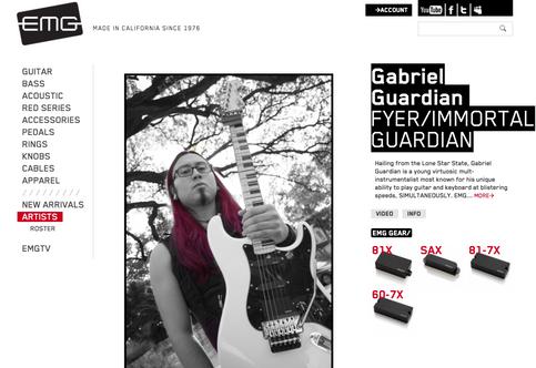 EMG Pickups welcomes Gabriel Guardian to Artist Roster