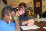 Zack helping Diodone with home work.JPG