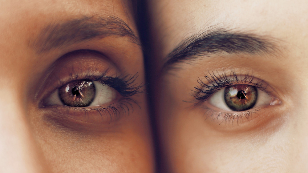 two eyes close up