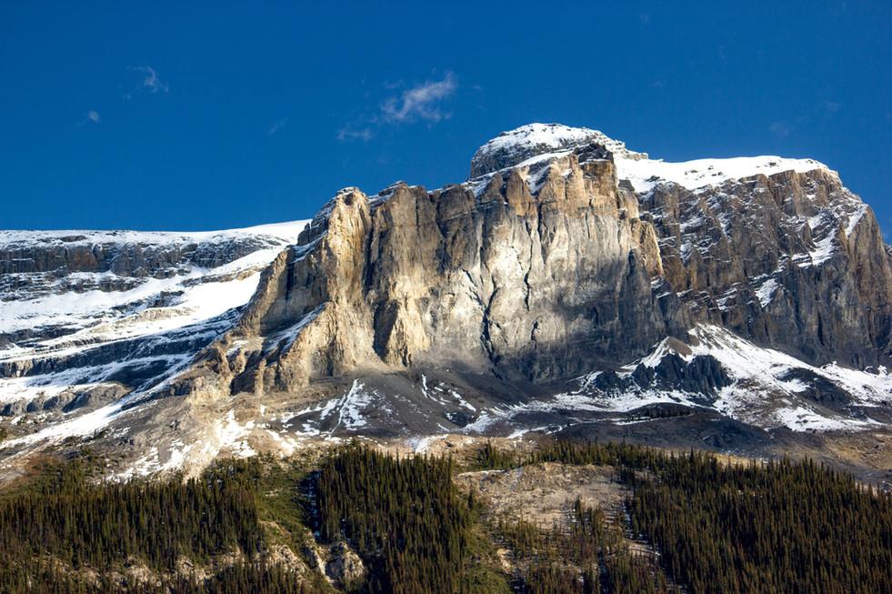 High Rocky Alpine peak above the evergreen trees