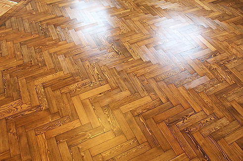 Parquet sanding , staining dark oak and varnishing in Chigwell