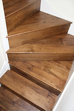 Solid wood installed on stairs, finished with ultra matt