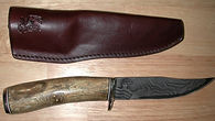 IRBI Knife w/ coral handle & Damascus blade; Sheath by Dawn Campbell